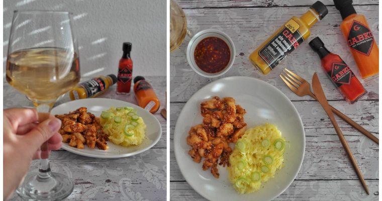 Mézes-chilis csirkemell krumplipürével